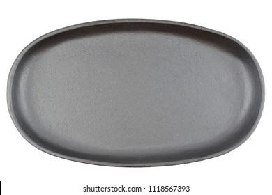 Charcoal Black Cast Iron Sizzler. Frying or Grilling Pan. Isolated Dish on White Background. For Logotype or Text Overlay.