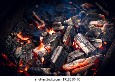 Charcoal burning on the grill