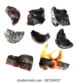 Charcoal, carbonize, carbon. isolated on white background. This has clipping path.