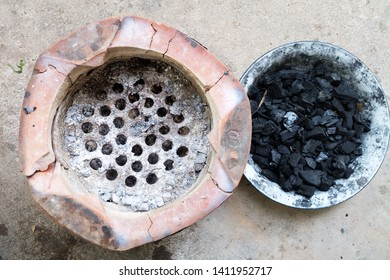 Charcoal and Clay stove on the floor