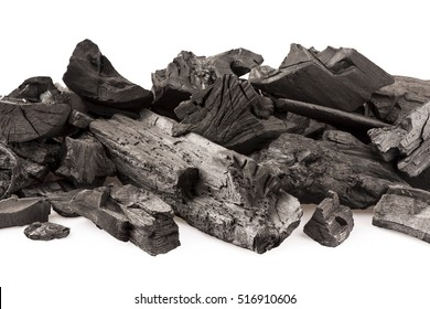 charcoal for cooking on white background close up