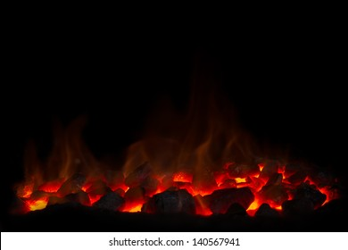 Charcoal fire black background