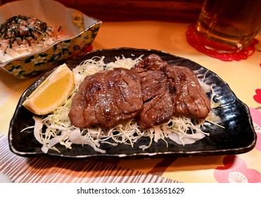 Charcoal grilled beef tongue in a restaurant.