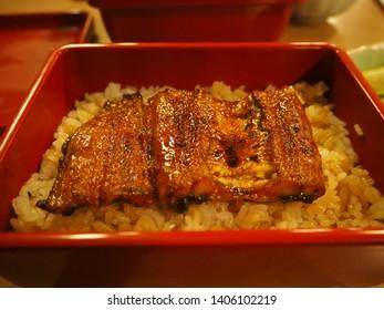 Charcoal grilled Unagi eel over rice or Japanese Unagi donburi (Unadon) rice recipe, famous street food of Narita, Chiba, Japan.