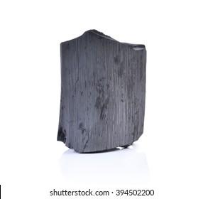 Charcoal Isolated on white. Kishu binchotan, japanese traditional white charcoal or hard wood charcoal, isolated on white background.