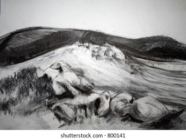 A Charcoal landscape drawing of open moorland.