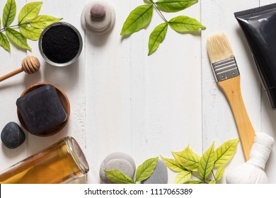 Charcoal mask tube on white background, cosmetic and skincare products