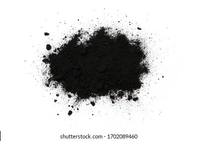 charcoal powder top view isolated on white background.