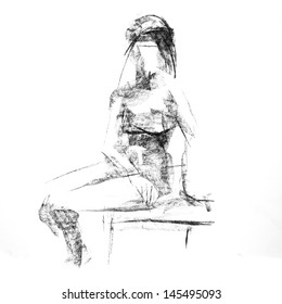 charcoal sketch woman