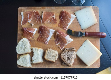 Charcuterie Board with ham, cheese, and bread