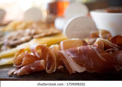 charcuterie boardjamon serrano ham close up