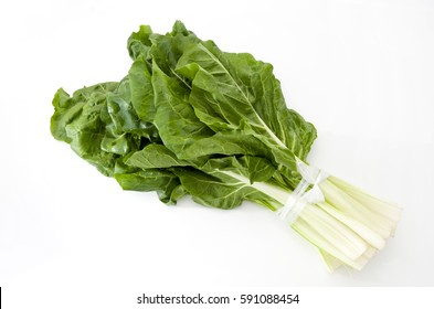 chard leaves on a white background