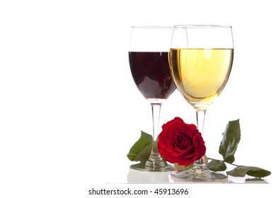 Chardonnay and Merlot with a cork and rose over white.