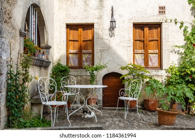 CHAREAUNEUF / FRANCE - JULY 2015: Facade of the building in the historic medieval village Chateauneuf-en-Auxois, France
