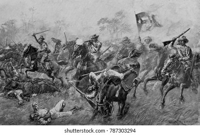 Charge of Cuban insurgents against Spanish in the Cuban War of Independence, 1895-98. By 1897, Spain had sent 200,000 soldiers to Cuba, but was unable to defeat the revolt