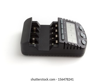 the charger for format accumulators AA and AAA on a white background