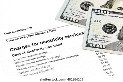 Charges for electricity services on a statement with US Currency