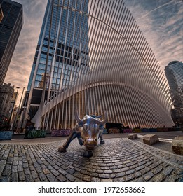 Charging Bull north of Bowling Green in the Financial District of Manhattan, Collage mix with Oculus building, Wall Street, New York, United States. 01.17.202
