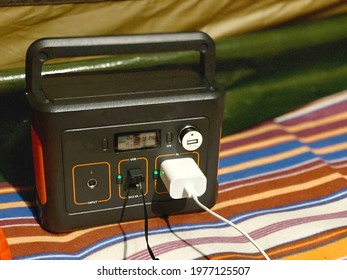 Charging cord plugged into a portable power supply