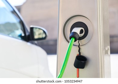 Charging for an electric car close up