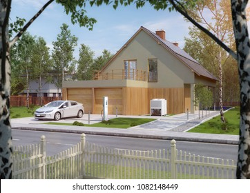 Charging an electric car in front of your house warm mood