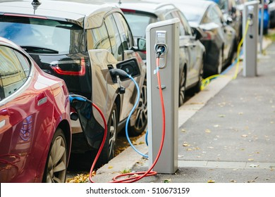 Charging modern electric cars on the street station