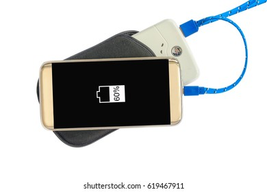 Charging power smartphone with powerbank on white background.