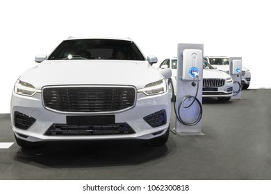Charging station for electric cars clean energy in the future of transportation ecology concept isolated on white background with clipping path