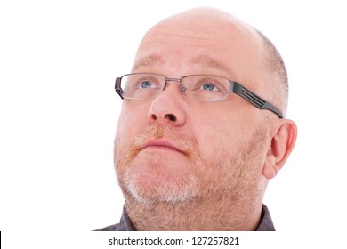 Charismatic adult man looking up. All on white background.