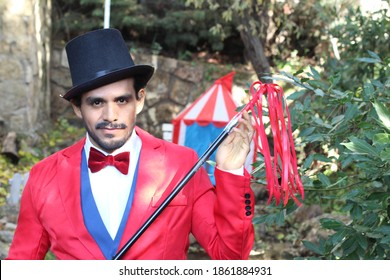 Charismatic ethnic ringmaster in the circus
