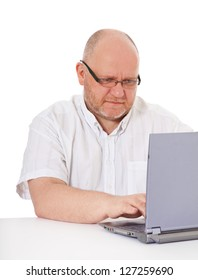 Charismatic middle aged man with laptop. All on white background.