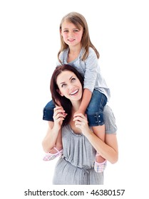Charismatic mother giving her daughter piggyback ride against a white background