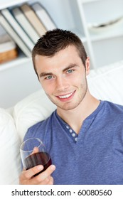 Charismatic young man holding a glass of wine sitting on a sofa in the living-room at home