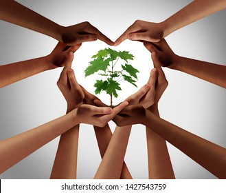 Charity concept or earth day global diversity support celebration as a community symbol for friendship and volunteer donation as a group of diverse people forming a heart shape as a composite image.