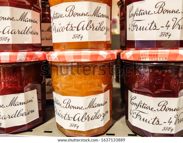Charleroi, Belgium - December 28 2019 : Confiture / French fruits jam Bonne Maman in a grocery store