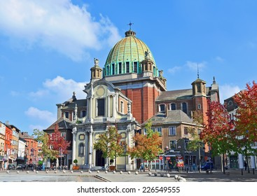 CHARLEROI, BELGIUM-OCTOBER 03, 2014: Center of Charleroi and Saint-Christophe church. The city and its region are the ones from mostly affected by the last crisis parts of the country
