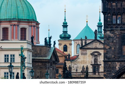 Charles Bridge, Church of St. Francis of Assisi in the Klementinum building and Church of St. Salvatore in Prague city of the Czech Republic, Europe