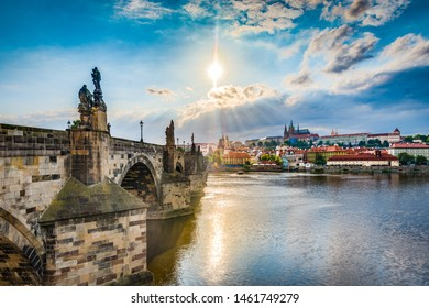 Charles Bridge, a historic bridge that crosses the Vltava river in Prague, connecting Prague Castle and the city Old Town area in Czech Republic.