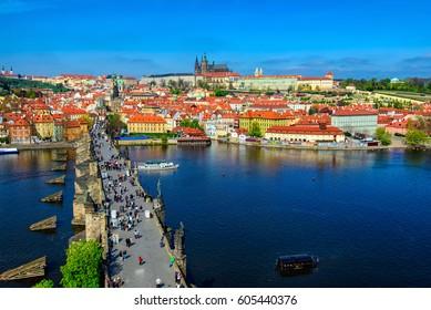 Charles Bridge (Karluv Most), Prague Castle and Vltava river in Prague, Czech Republic. Architecture and landmark of Prague, cityscape of Prague