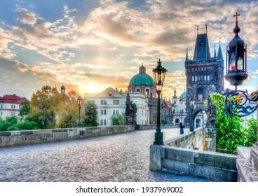 Charles Bridge (Karluv Most) at sunrise in Prague, Czech Republic - Shutterstock ID 1937969002