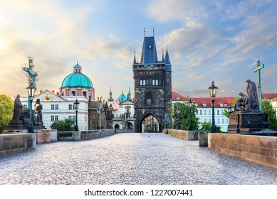 Charles Bridge leading to the Old Town Bridge Tower and St. Francis of Assisi Church, Prague, no people