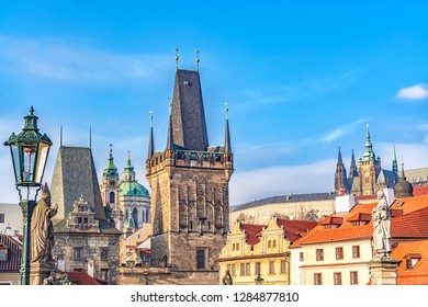 Charles Bridge with Lesser Town Bridge Tower in Prague, Czech Republic