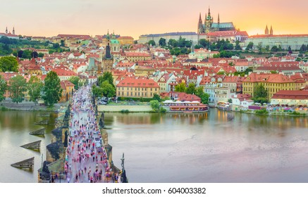 The Charles bridge is located in Prague, Czech Republic. Finished in the XV century, it crosses the Vltava river, leading the castle of Prague.
