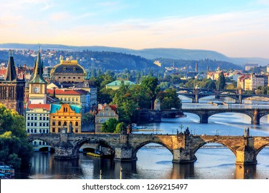 Charles Bridge, Old Town Tower and National theatre, Prague
