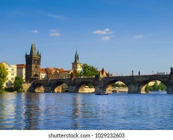 The Charles Bridge over the Vltava River in Prague, Czech Republic