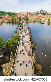 Charles Bridge in Prague. bird's-eye view