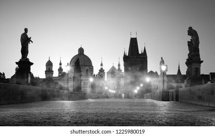 Charles Bridge in Prague. Black and white photo