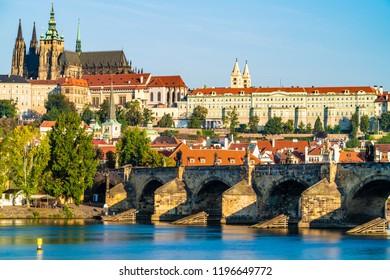 Charles bridge and Prague castle in Prague,Czech Republic