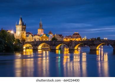 Charles bridge in Prague city - night view