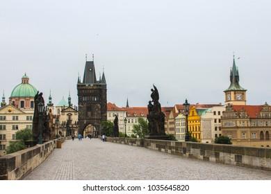 Charles Bridge in Prague in cloudy weather. Czech Republic